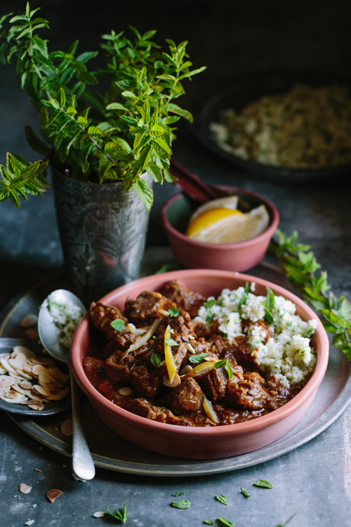 This lamb tagine is fragrant and mild, topped with zesty preserved lemon.