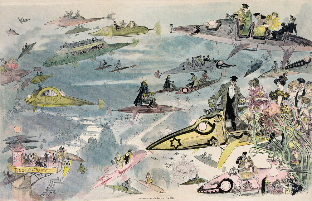 """La sortie de l'opéra en l'an 2000"", a drawing made by the french illustrator and novelist Albert Robida in 1882."