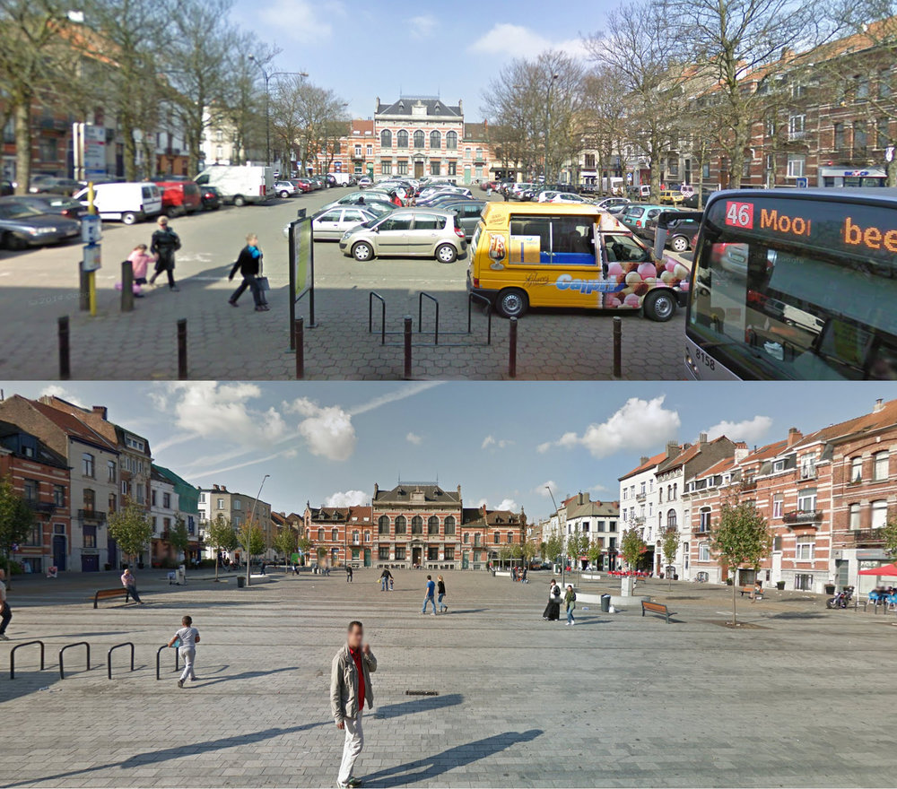 Transformation of the Place de la Resistance / Verzetsplein in Brussels (Belgium), as seen on Google Streetview.