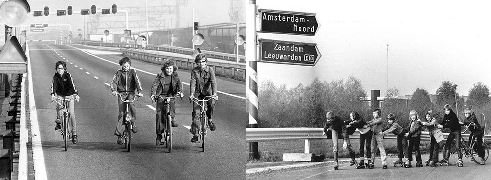 Inquilinism on abandoned roads in the Netherlands, 1973. Images courtesy of Hollandse Hoogte and ANP.