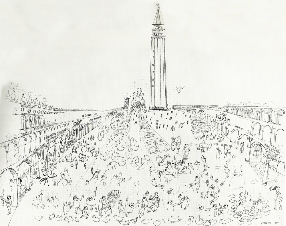 Saul Steinberg, Piazza San Marco, Venice (1951). The car-free core par excellence.