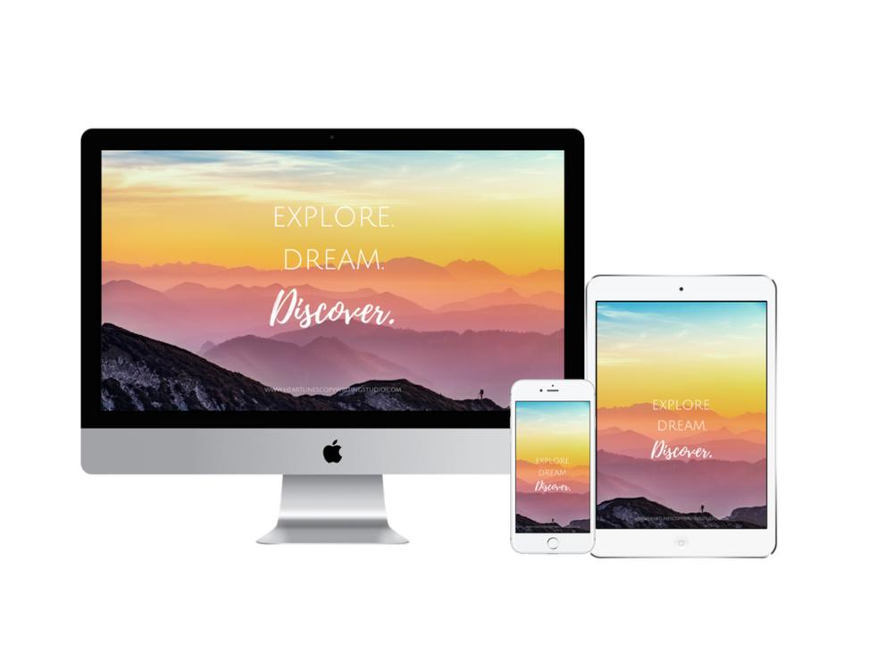 Explore. Dream. Discover. Digital wallpaper.