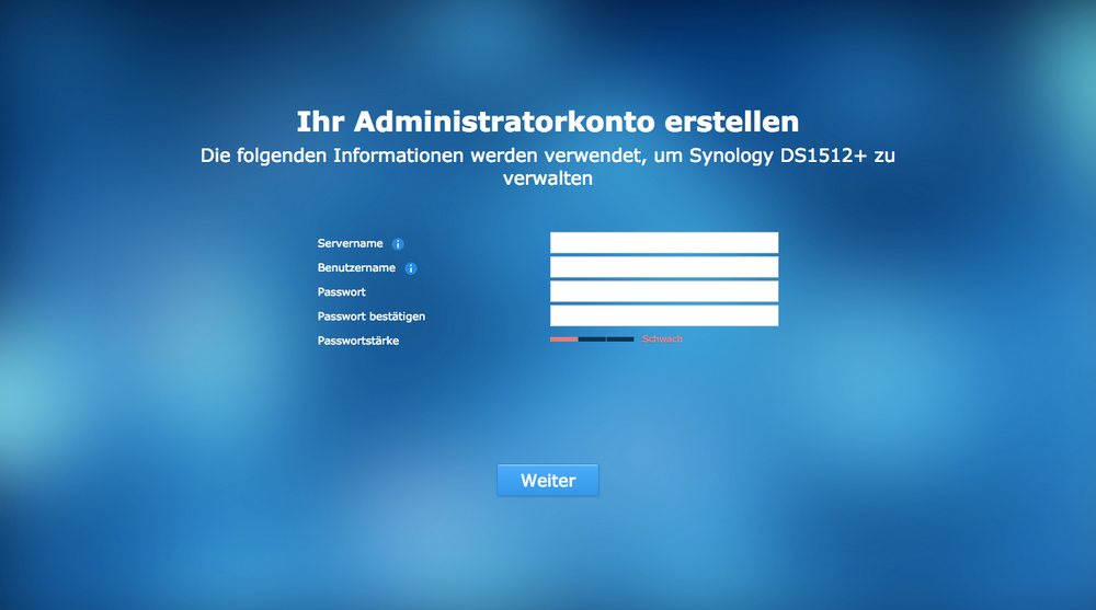 After the installation has been completed, an administrator account must be created.  Please enter the required data.