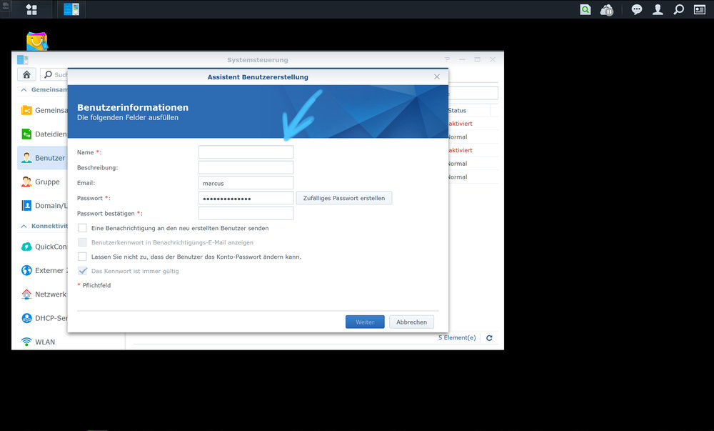 4. Please enter the data of the new user into the appropriate fields.