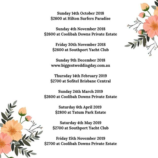 Our Pop Up Event Wedding Days for the rest of 2018 and early 2019.  #gcpopupweddings #GCPUW #celebrate #love #ido #weddinginspo #popupweddings #popupelopements #realwedding #justmarried #weddinggoals#isaidyes #ceremony #beautiful #goldcoastweddings #hinterlandweddings #qldweddings #engaged #letsgetmarried #tietheknot #mrandmrs #weddingplanner #goldcoastbrides