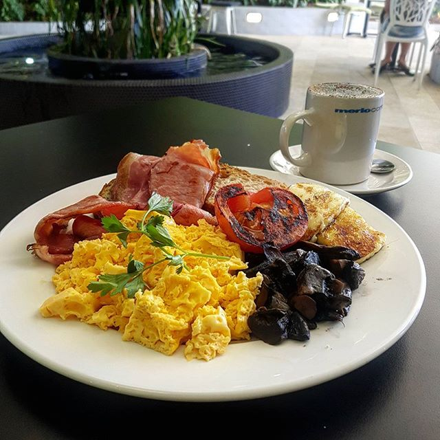 Why not make your good morning a great morning and come down to Duo for a delicious breakfast like this one!  Bacon and eggs with grilled tomato, mushroom and halloumi!! Dont forget, kids 10yrs and under eat free every weekend!!! #duocafecaboolture #breakfast #brekkie #yummy #bacon #baconandeggs #kids #duocafe #caboolturefood #caboolture #brunch #food