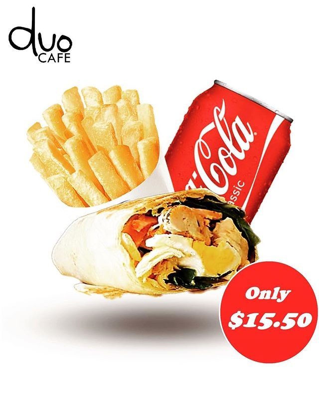 Get a tasty meal at a great price with our Handmade Wrap Value Meal!!🌯🍟🥤 You value good food just as much as you value a good price. Thanks to our delicious meal bundles, you can have both.  Now you can get any one of our homemade wrap, hot chips and coke with only $15.50!!! Our signature wraps and sandwiches are all hand made from the fresh and finest ingredient.  Always healthy and tasty choice!! 🤤🤤