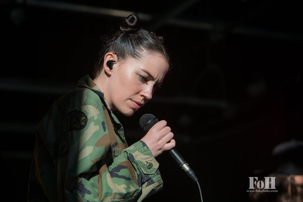 August, 08, 2016: Toronto, Ontario, Canada - Singer-songwriter Bishop Briggs performs with her band at 102.1 The Edge studios, at Corus Quay, Toronto (Bobby Singh/FOHPhoto).