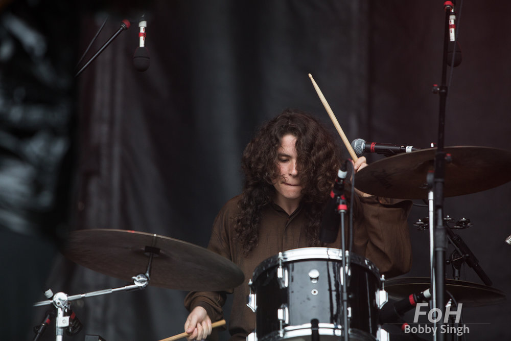 Sheridan Riley drummer of Alvvays performing at the 2018 Field Trip Music & Arts Festival in Toronto