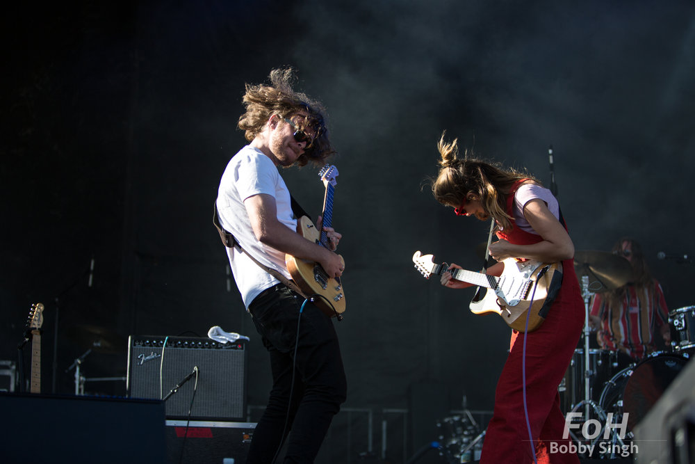 Husbnd and wife Tim Fitz and Hannah Joy of Middle Kids performing at the 2018 Field Trip Music & Arts Festival in Toronto.