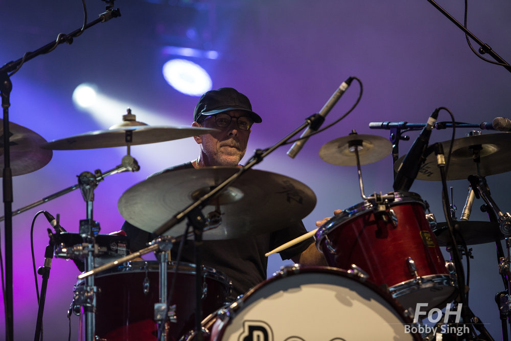 Toronto, CANADA. 14th July, 2018. Drummer David Lovering of Pixies performing at Budweiser Stage in Toronto