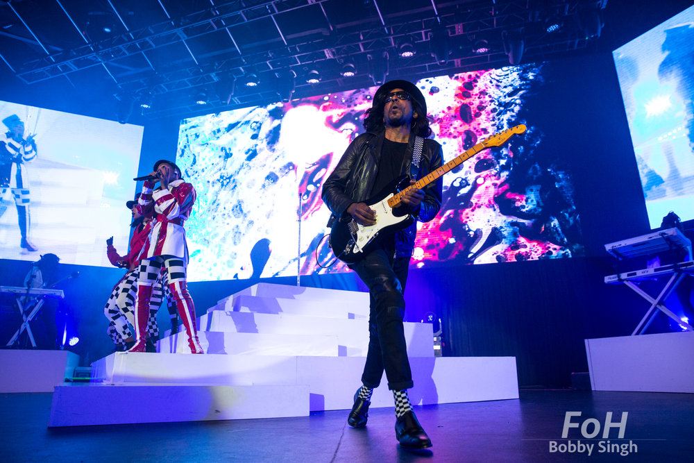 July 16th 2018. Guitarist Kellindo Parker performs with Janelle Monae at Rebel Nightclub in Toronto, CANADA.