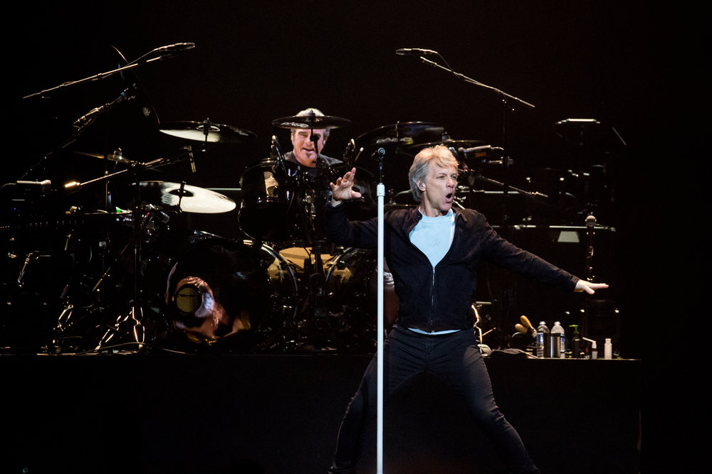 Toronto, CANADA. 12th May, 2018. Jon Bon Jovi and drummer Tico Torres perform at the Air Canada Centre in Toronto. Credit: Bobby Singh/Alamy Live News.