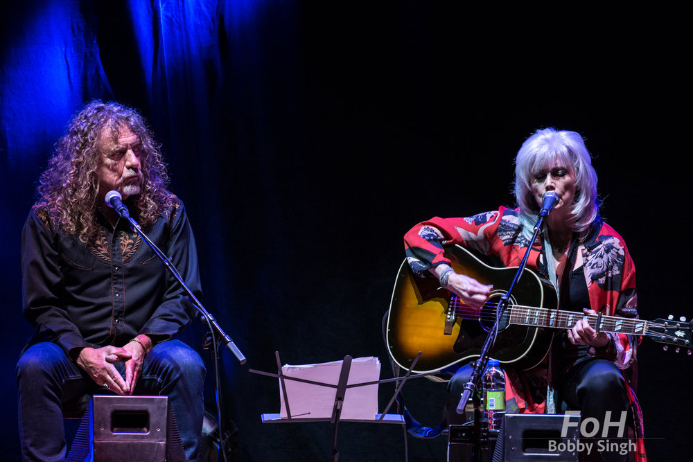 Robert Plant and Emmylou Harris performing at the Lampedusa Concert for Refugees fundraiser at Massey Hall in Toronto