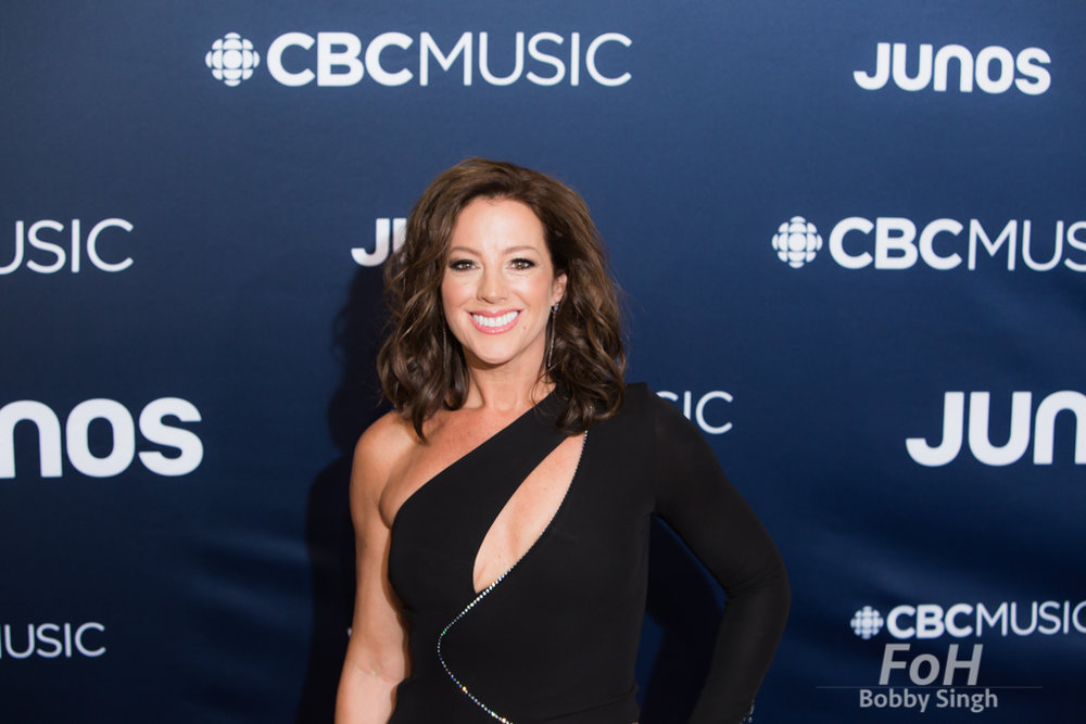 Sarah McLachlan on the 2019 JUNO Awards red carpet at Budweiser Gardens, in London, Ontario, CANADA