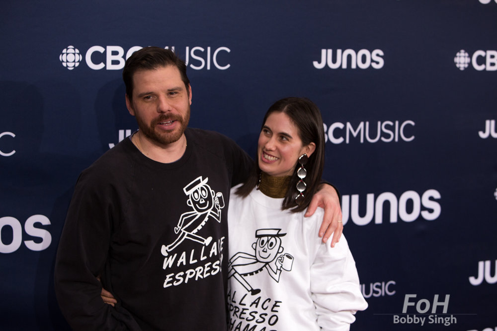 Afie Jurvanen (Bahamas) and wife Naomi Jurvanen on the 2019 JUNO Awards red carpet at Budweiser Gardens, in London, Ontario, CANADA