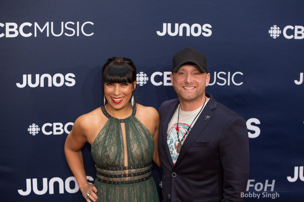 Tim Hicks and wife Amanda on the 2019 JUNO Awards red carpet at Budweiser Gardens, in London, Ontario, CANADA