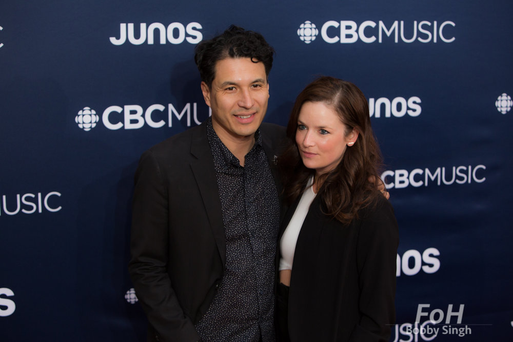 Jeffery Remedios and wife Lucia on the 2019 JUNO Awards red carpet at Budweiser Gardens, in London, Ontario, CANADA