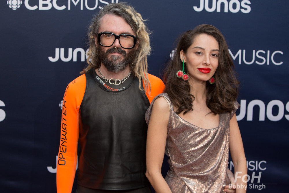 producer Shawn Everett on the 2019 JUNO Awards red carpet at Budweiser Gardens, in London, Ontario, CANADA