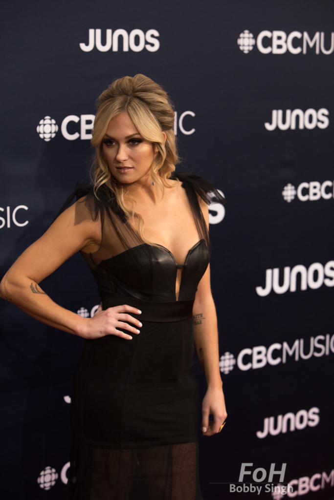 Meghan Patrick on the 2019 JUNO Awards red carpet at Budweiser Gardens, in London, Ontario, CANADA