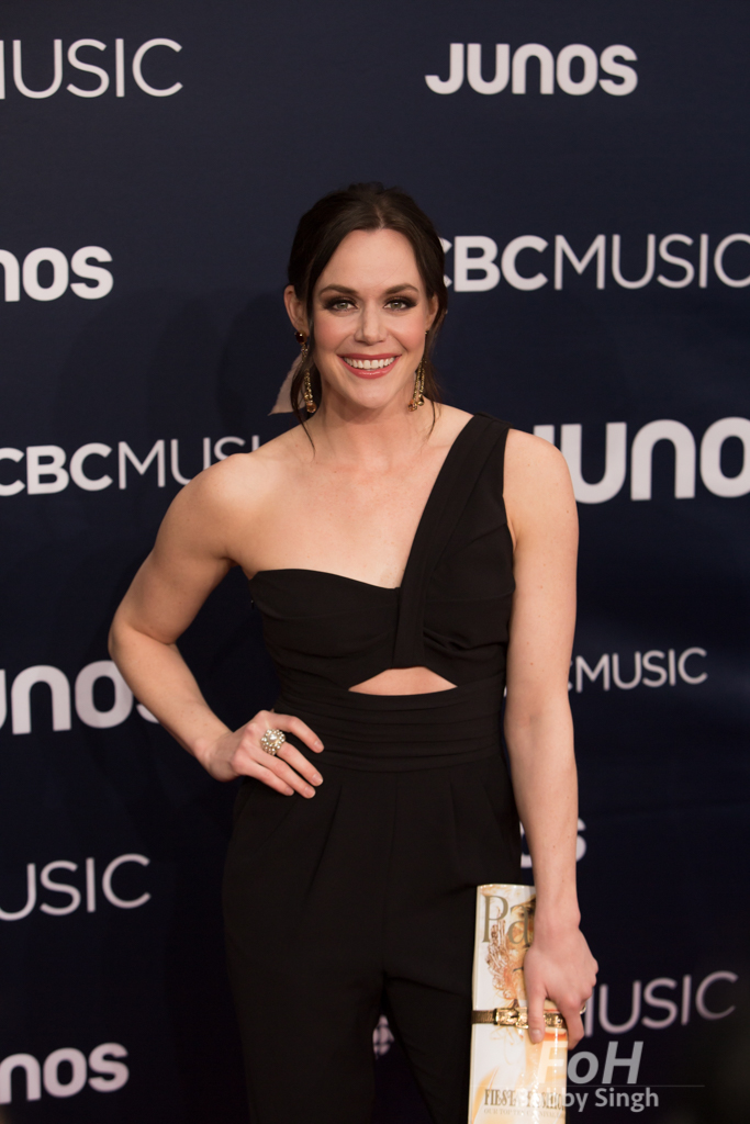 Olympic Champion ice dancer Tessa Virtue on the 2019 JUNO Awards red carpet at Budweiser Gardens, in London, Ontario, CANADA
