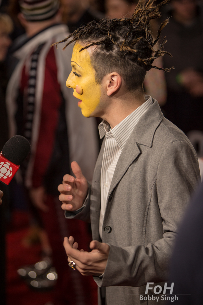 hubert Lenoir being interviewed on the 2019 JUNO Awards red carpet at Budweiser Gardens, in London, Ontario, CANADA