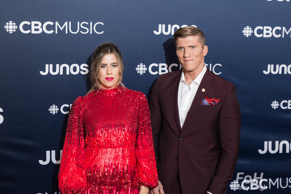 The Recklaws on the 2019 JUNO Awards red carpet at Budweiser Gardens, in London, Ontario, CANADA