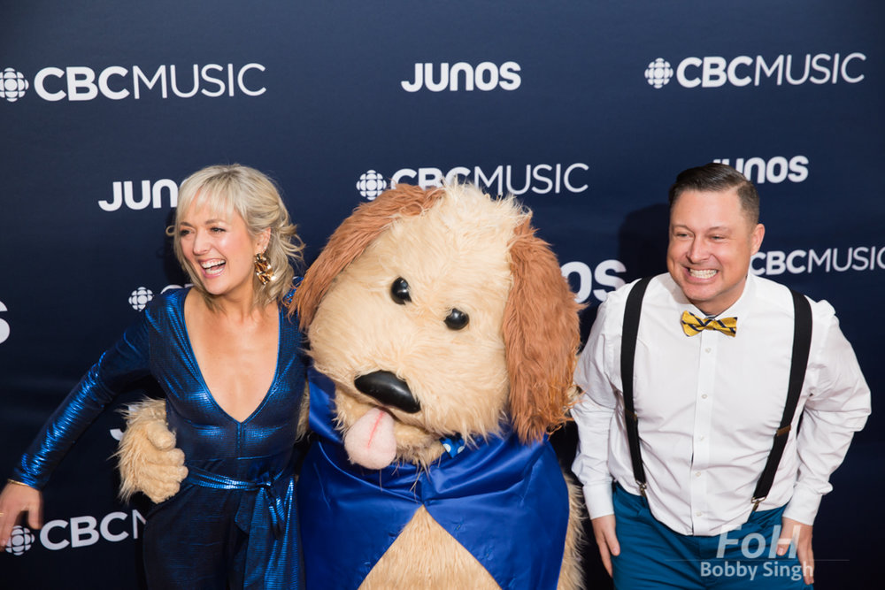 Children's Entertainers Splash 'n' Boots on the 2019 JUNO Awards red carpet at Budweiser Gardens, in London, Ontario, CANADA
