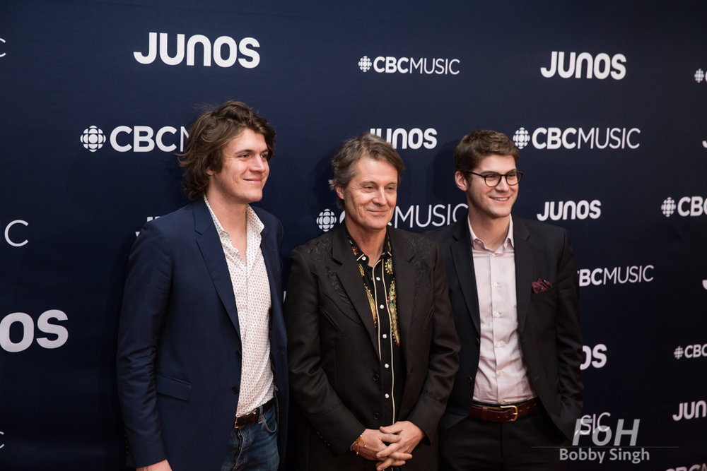 Devin, Jim and Sam Cuddy on the 2019 JUNO Awards red carpet at Budweiser Gardens, in London, Ontario, CANADA
