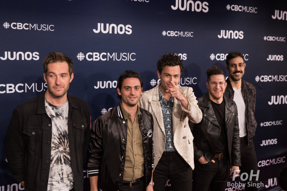 Arkells on the 2019 JUNO Awards red carpet at Budweiser Gardens, in London, Ontario, CANADA