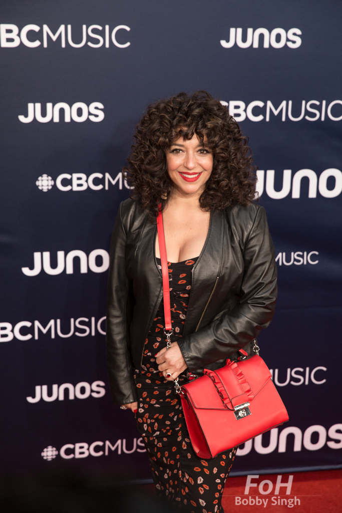 Julie Nessrallah on the 2019 JUNO Awards red carpet at Budweiser Gardens, in London, Ontario, CANADA
