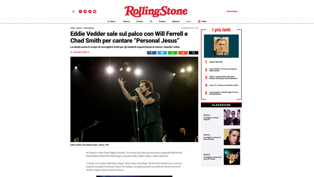 """""""Pearl Jam"""" Rolling Stone Italy. 02.14.2018"""