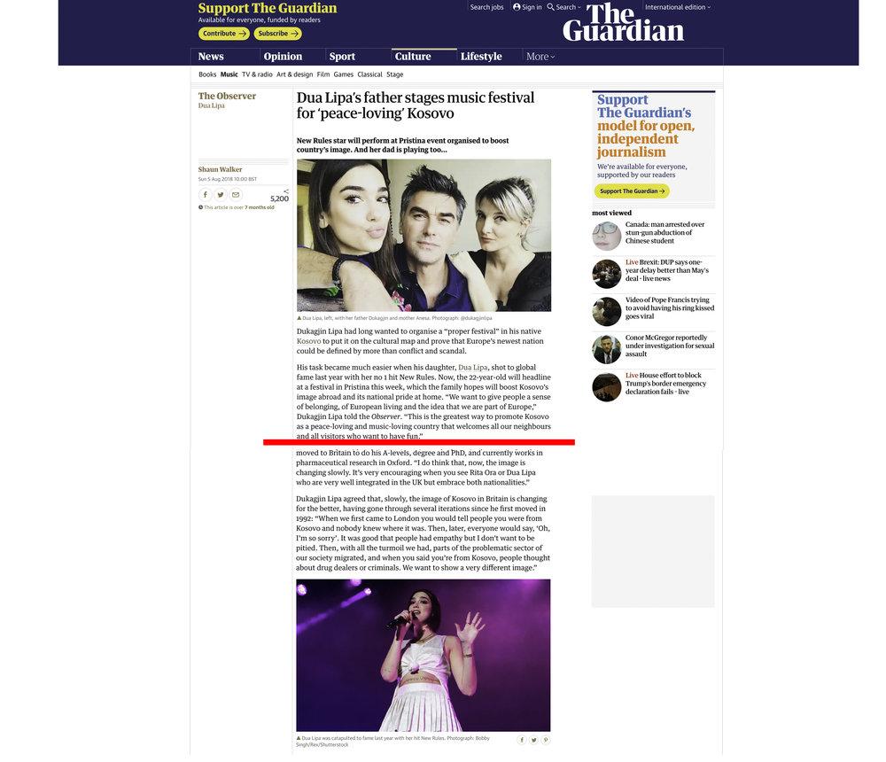 """""""Dua Lipa"""". The Guardian UK. 08.05.2018. (edited for spacing)"""