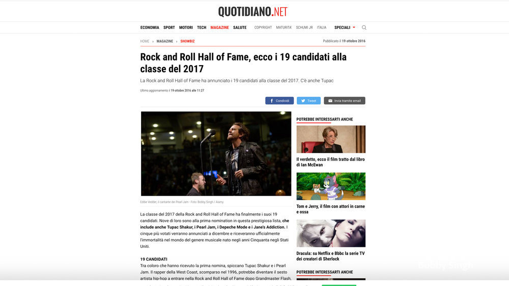"""""""Pearl Jam"""".  Quitidiano.net Italy. 10.19.2016"""