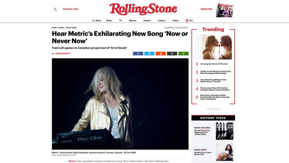 """Metric"". Rolling Stone. 09.04.2018"