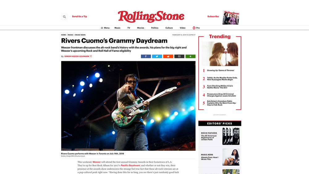 """Weezer"". Rolling Stone. 02.06.2019"