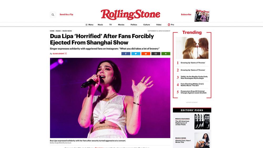 """Dua Lipa"". Rolling Stone. 09.13.2018"