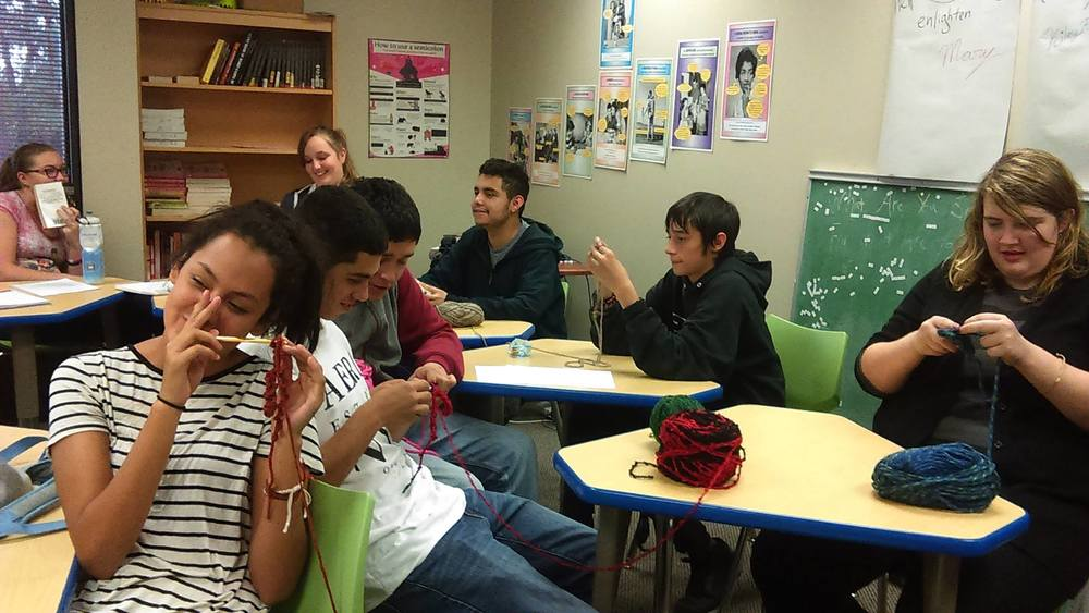 The ECA Fiber Arts Club, sponsored by Ms. Murphree, learning to crochet.