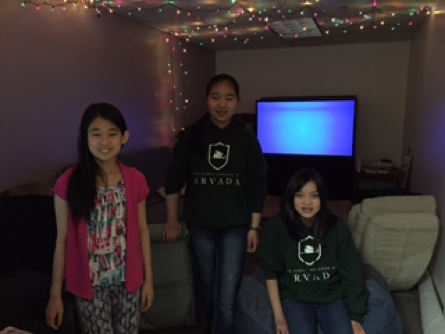Carrie Chan, Lily Li & Katie Tanner in the Middle School Lounge.