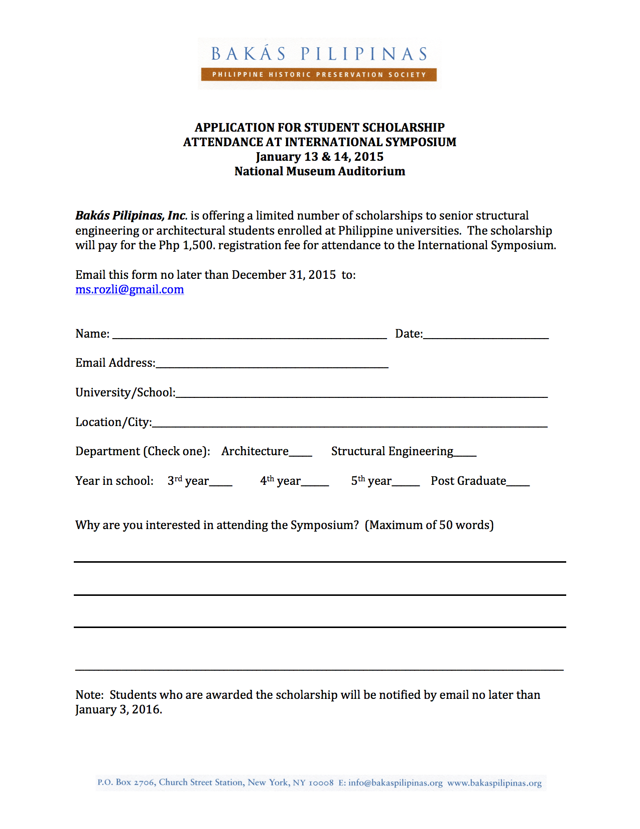Application for Student Scholarship