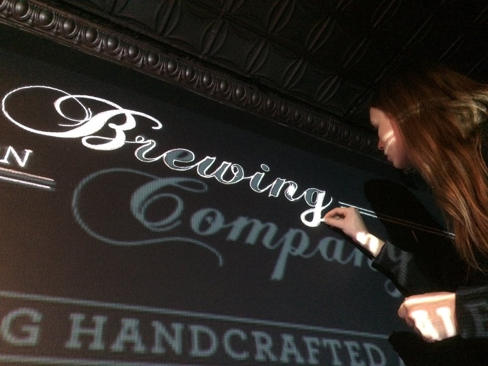 Tracing the projected design with chalk