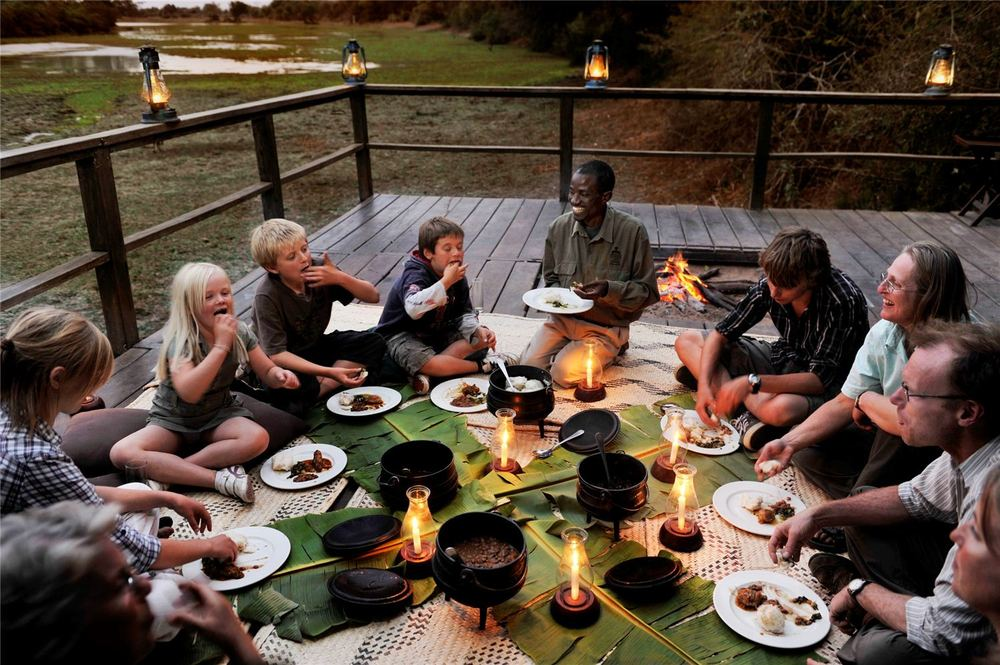Group enjoying a meal