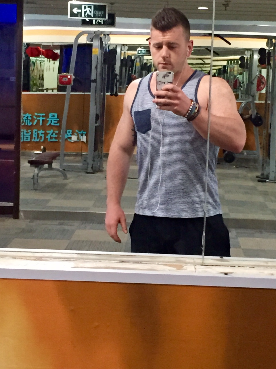 Dropped from 102kg to 93.5kg in less than 2 months. Amazing what a little cardio and salad will do for the body. Bought this tank top yesterday and realized it was too small as soon I put it on.