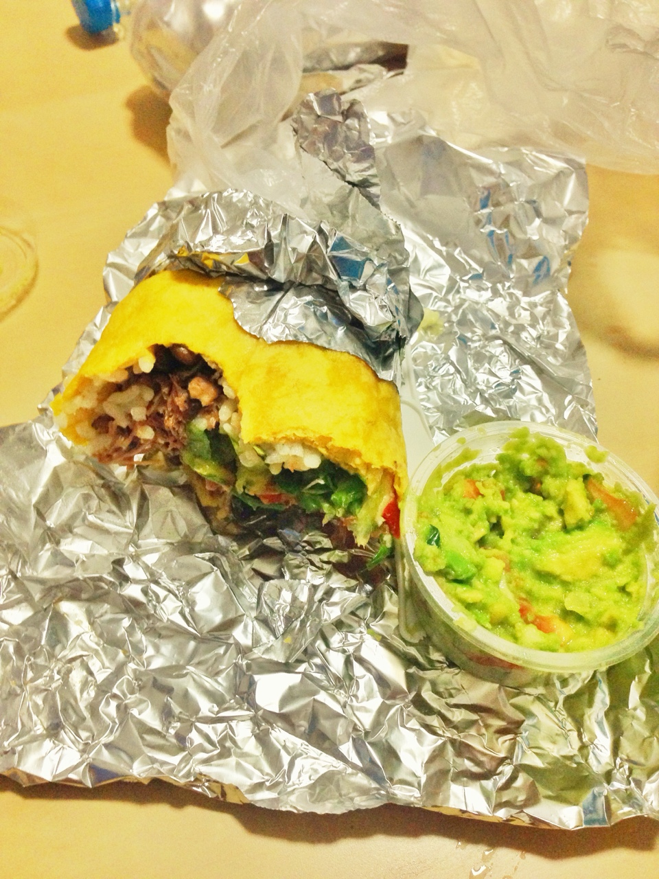Went on a bike ride after work and low and behold, I found a burrito place, 'Lucky Lopez'. And yes, even in china, Guacamole is extra