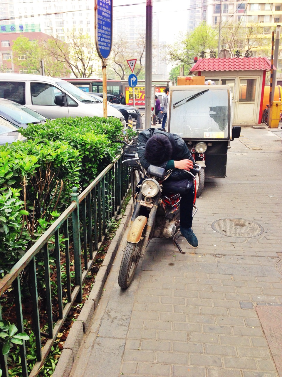 Nothing like an afternoon nap on a motorbike
