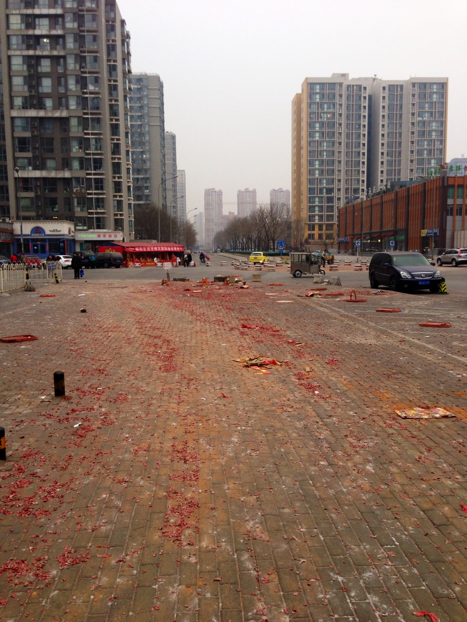 Fireworks have been non stop ever since Chinese New Year started. This is some of the aftermath. The streets are covered in the remains of those tiny little things that go 'boom'.