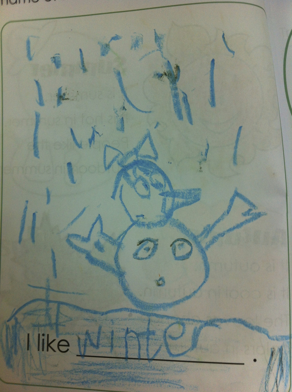 """""""It's a girl snowman, see??"""" Oh, thanks for clarifying Yofi (5 year old Chinese kid)"""