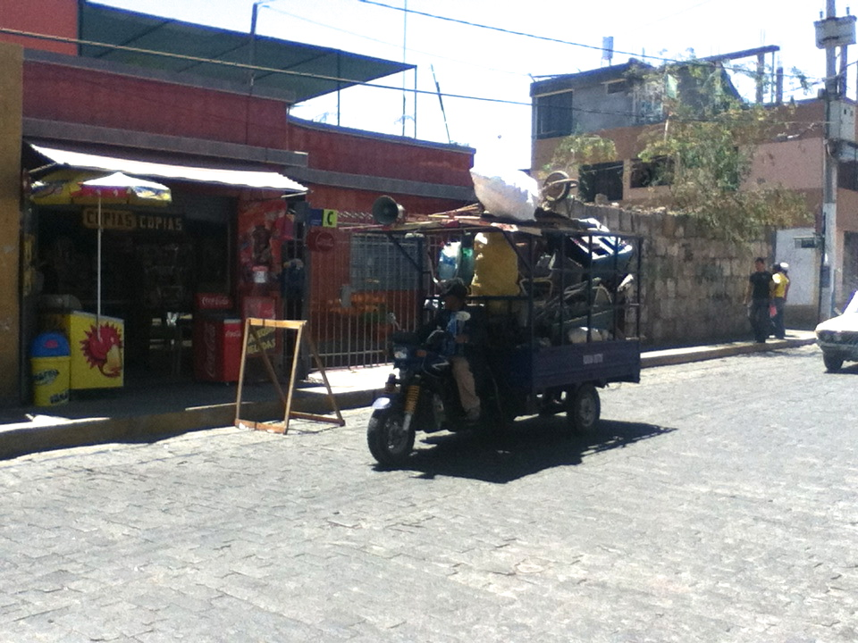 'Ramshackle cart' is the best I can come up with to describe these contraptions that ride through the streets of Arequipa. Some are buying, some are selling, but they both have a loudspeaker attached (somehow) and will yell what they want/have in a gravelly voice as they slowly pass through the cobblestone streets. Between them and the rooster next door, sleeping can be a challenge.