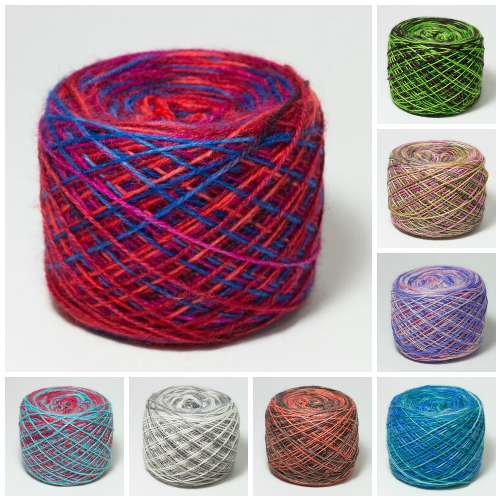 Better than a sweetie shop: a selection of Joy's hand-dyed self stripe yarns.
