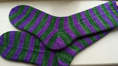 My first self-stripe: the 'Wimbledon' colourway from The Knitting Goddess